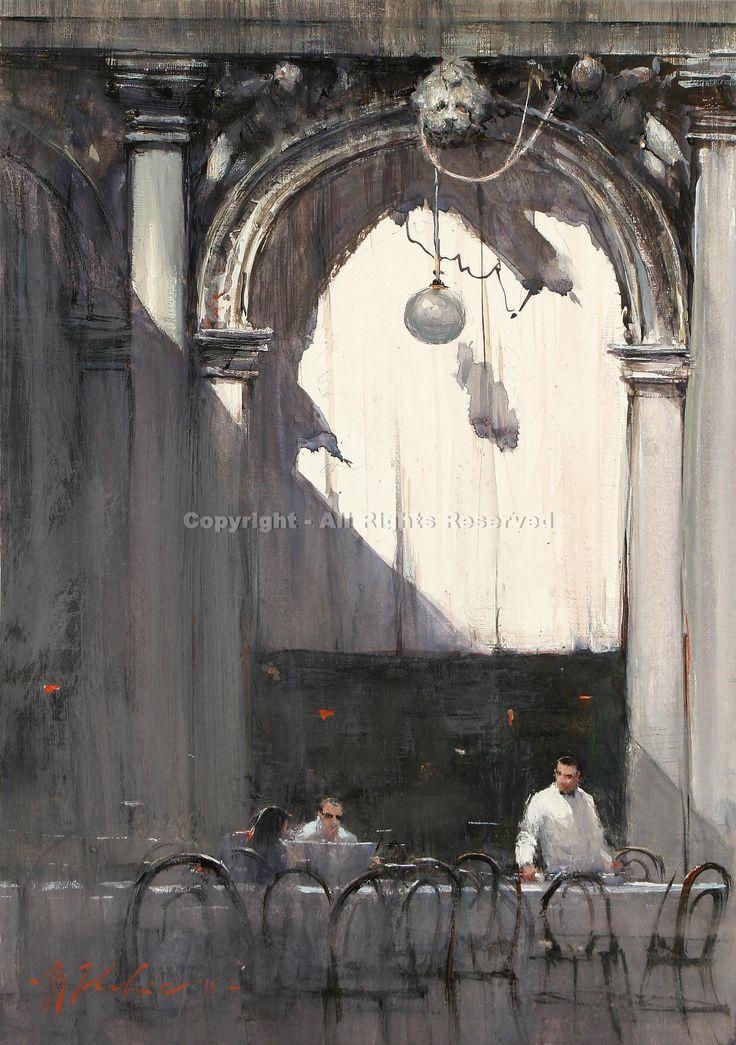 The Last Customers, San Marcos, Venice - Watercolor by Joseph Zbukvic #watercolor jd