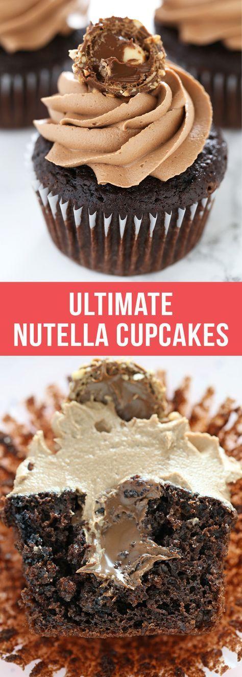 Ultimate Nutella Cupcakes are the best cupcakes EVER! #cupcakes #nutella #dessert #chocolate #bakingrecipe #dessertrecipes #food #bestcupcakes