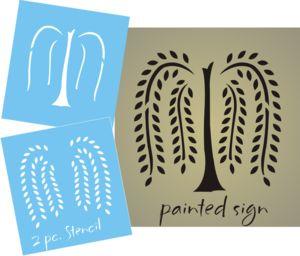 free primitive clip art | STENCIL Primitive Willow Tree Folk Art Home decor craft signs