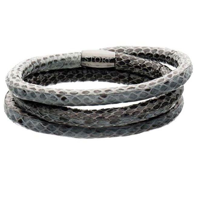 STORY by Kranz & Ziegler Triple Wrap Grey Snakeskin Bracelet