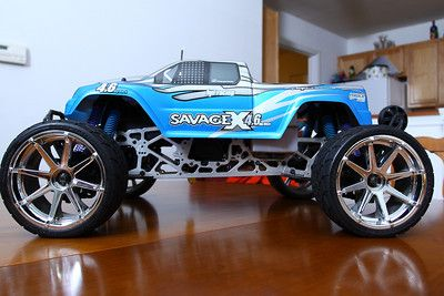 HPI Savage X 4.6.  Rebuilt with Fast Lane Machines LCG Extended TVP's.  Stock body, HPI Tremors with Phatline wheels.