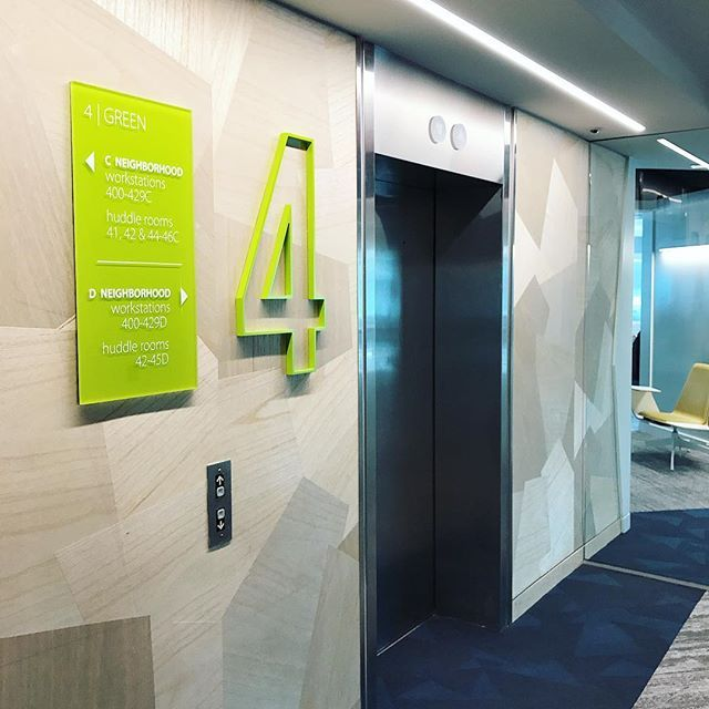 So bright so fresh! Newly installed wayfinding signage for this fully occupied building will help employees and visitors find their way around the new office. #wayfinding #signage