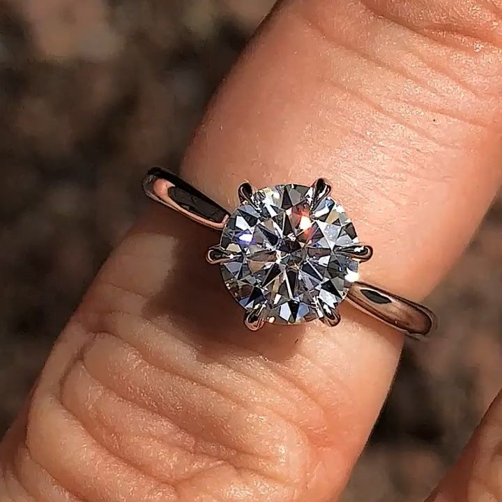One Of Our Customers Purchased A Sol448 They Purchased A 1 5ct 7 5mm Round Hearts Moissanite Engagement Ring Palladium White Gold Wedding Rings Engagement