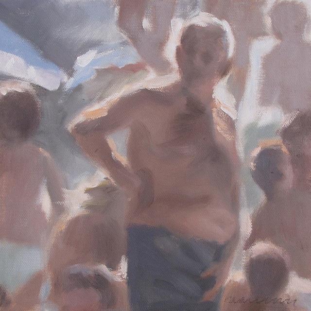I bagnanti #1546 The Bathers, olio su tela. cm 20x20