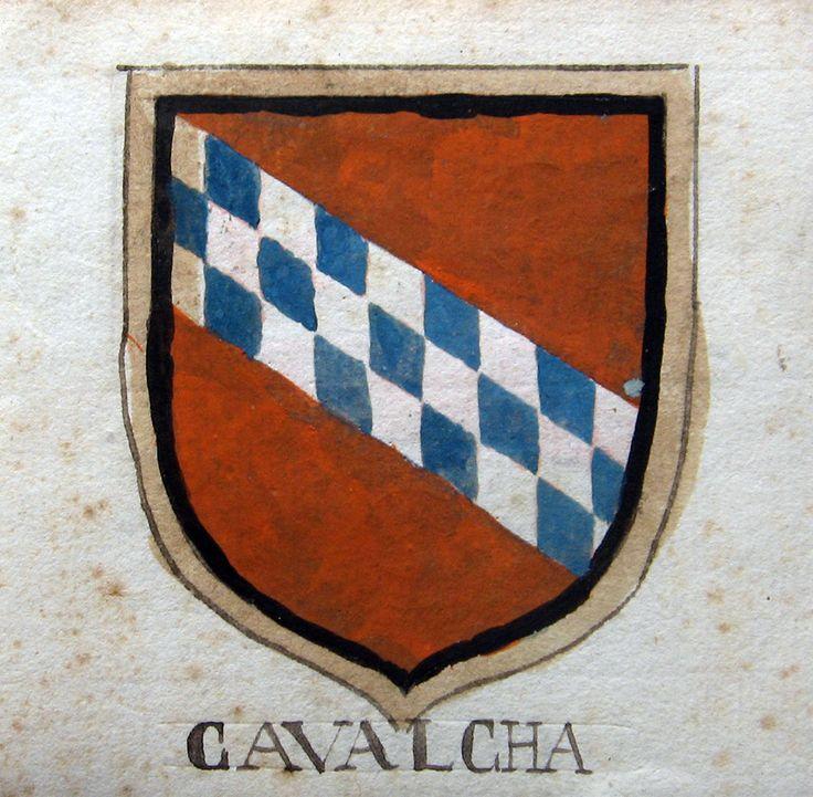 TOSCANA ARALDICA  - COSCIO da Calci (al retro) CAVALCHA. 1600 ca. Acquarello policromo originale, mm.80x70 ca + margine bianco. Grazioso stemma nobiliare.