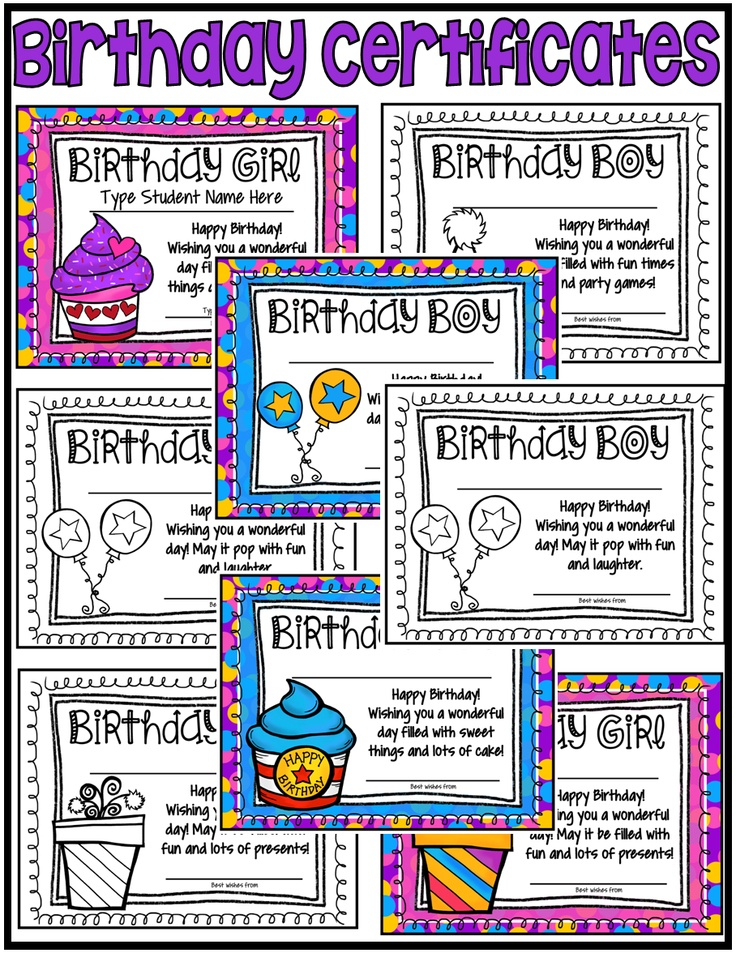 birthday certificates  fillable