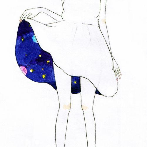 Era el Universo bajo su falda, sus piernas los pilares de lo infinito, entre constelaciones y planetas la vida entera.-