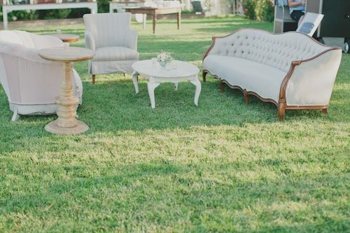 Lounge vignette at this lovely outdoor wedding with Found Vintage Rentals, LVL events and Aaron Young Photo