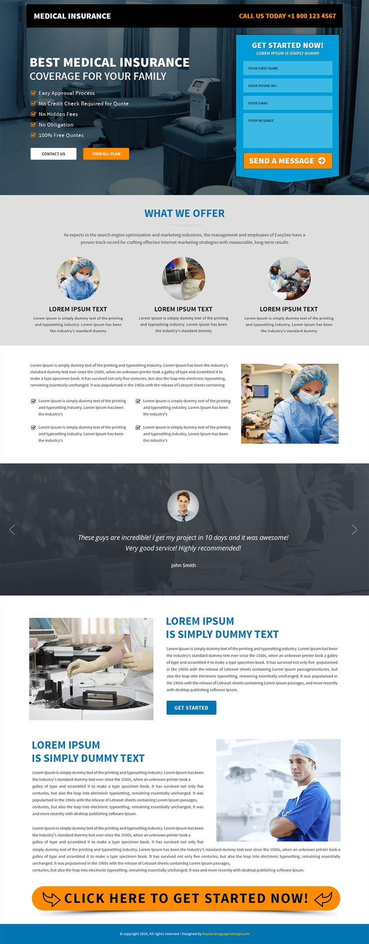 Responsive Medical Insurance Landing Page Template $29 only BuyNow!