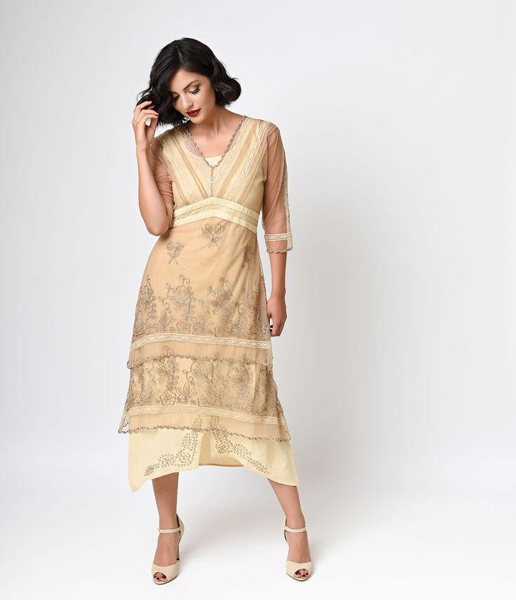 Nataya 1930s Tan Embroidered Titanic Tulle Tea Length Dress $218.00 AT vintagedancer.com