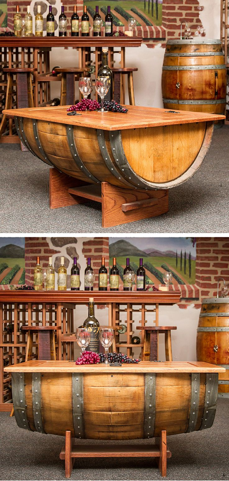 Wine barrel coffee table furniture design diy for Planimetrie artistiche con cantina