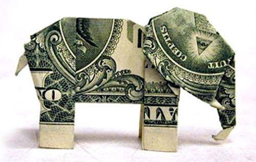 dollar origami elephant. **made an elephant and a giraffe for my son once - actually it was from the tooth fairy :) **