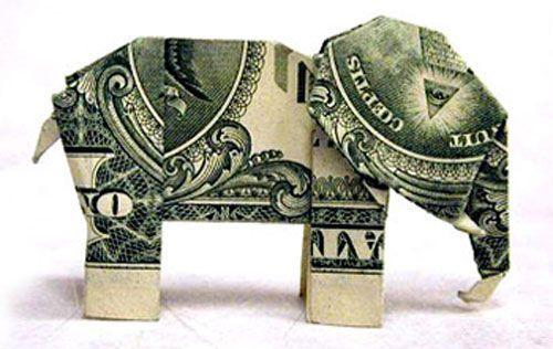 dollar origami elephant!!!!!!