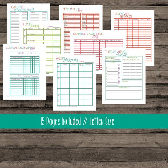 This listing is for my LETTER size fitness printables. Put together your fitness planner and start reaching your goals with these! For more