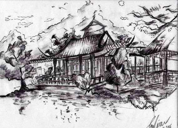 Japanese Temple  Ink and Charcoal drawing on thin by BlendWorks
