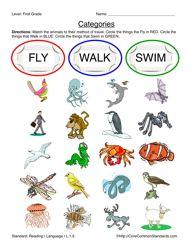 Common Core Worksheet - L.1.5 - Have Fun Teaching
