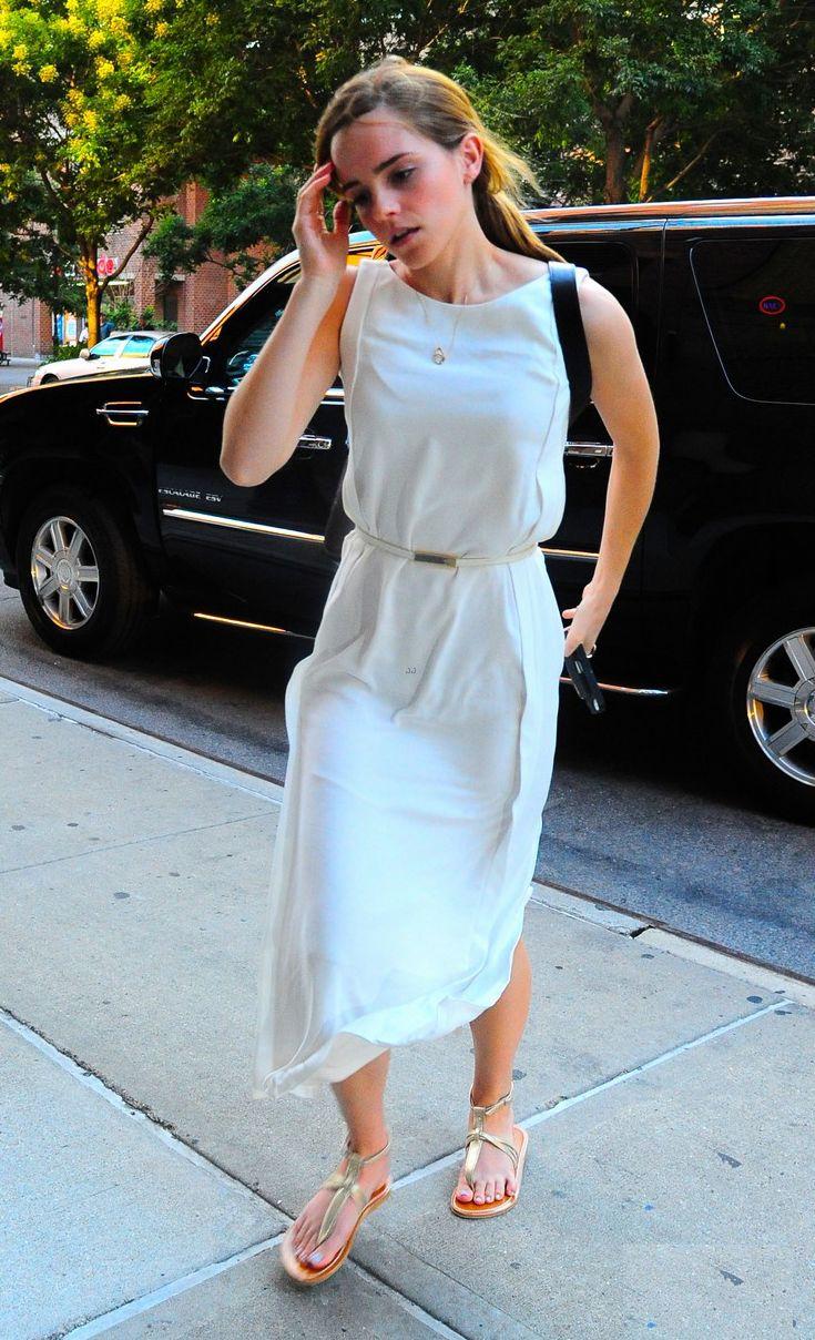Emma Watson street style - white maxi dress, skinny belt, sandals