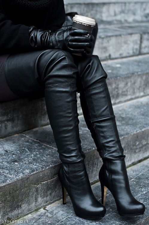 Thigh high leather boots.
