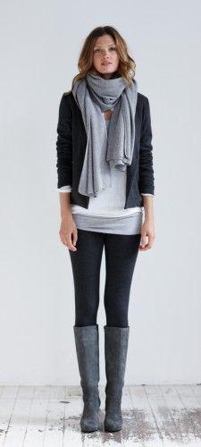 Outfit in Weiß, Schwarz und #Grau - ideal für herrliche Herbsttage.
