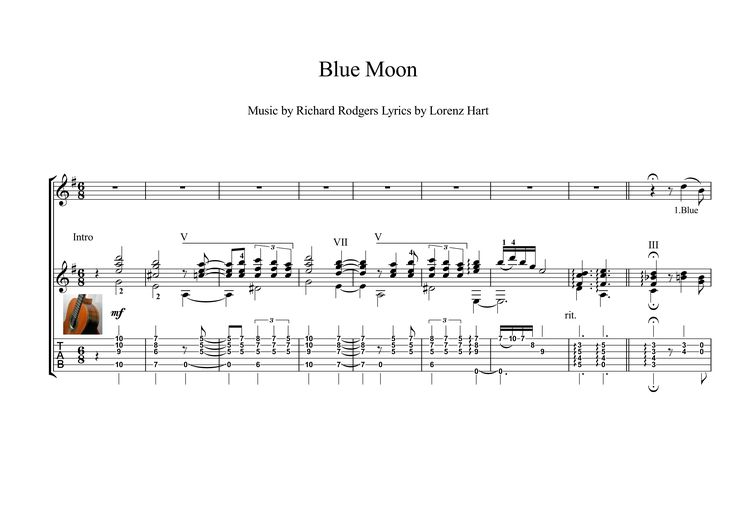 """""""Blue Moon"""" is a classic popular song written by Richard Rodgers and Lorenz Hart in 1934, and has become a standard ballad. Here is an arrangement for classical Guitar Solo, early intermediate,  with downloadable mp3 for audio help.  Tablature has the advantage of a very short learning curve and does not require extensive study to learn while the audio file makes the score interpreting even easier."""