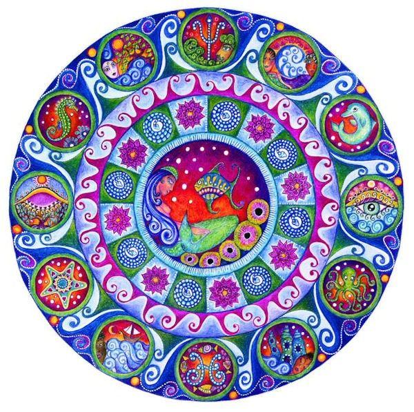 Piscis astrología arte Mandala impresión marzo por LindyLonghurst