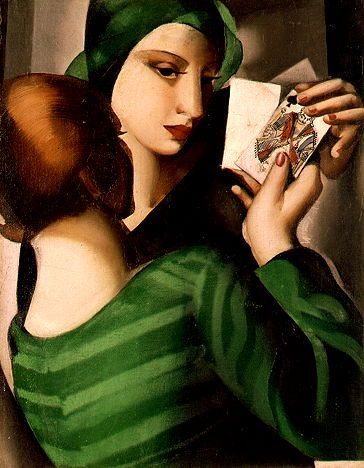 'Card Players' - c. 1926 - by Tamara de Lempicka (Poland, 1898-1980) - Oil on canvas - 35x27cm. - Stolen painting, France http://www.pinterest.com/smithposts
