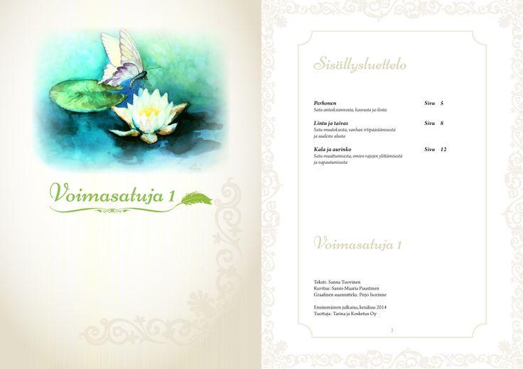 Tarina ja Kosketus Oyn Satuhieronta e-kirjan suunnittelu. Tässä kansilehtinen ja ensimmäinen sisäsivu. #satuhieronta #ekirja #graafinensuunnittelu #taitto