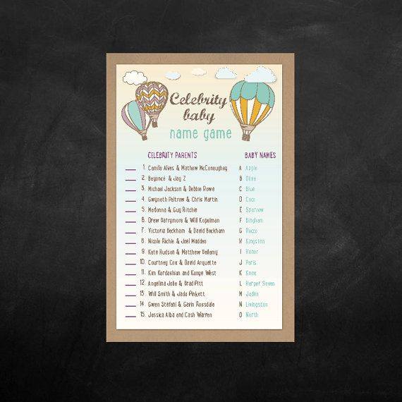 Instant Download  Baby Shower Celebrity Name  Game, everyone loves a little game. by BlissfulPrints