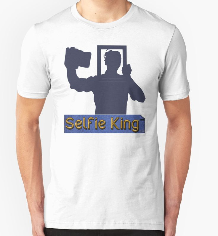 """Funny Unique Blue and Gold Selfie King T-shirt"" T-Shirts & Hoodies by WearYourVoice 