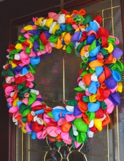 Leuk voor een kinderfeestje, ballonnen krans, diy, knutselen (alleen foto), craft, balloon wreath (only photo), party decoration
