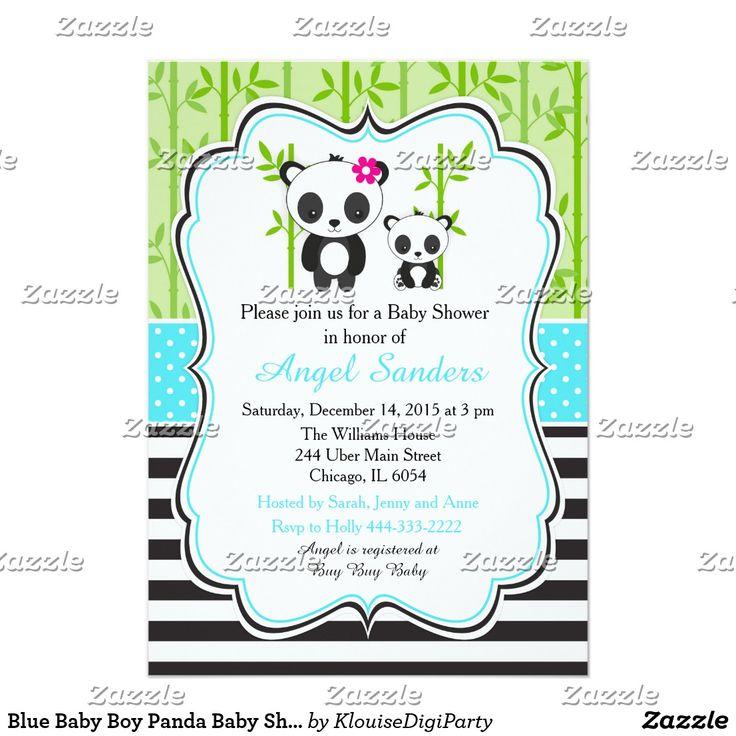 Blue Baby Boy Panda Baby Shower Card