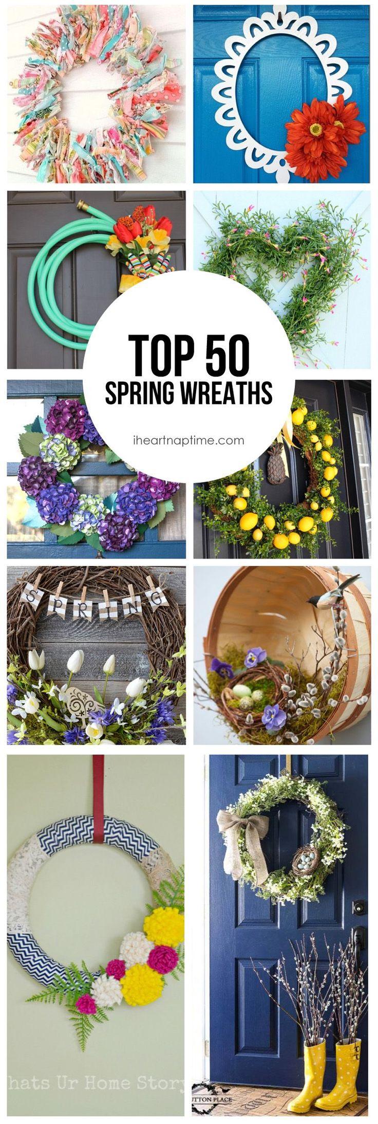 Top 50 DIY Spring Wreaths on iheartnaptime.com -so many cute ideas! #springdecor #spring #wreaths