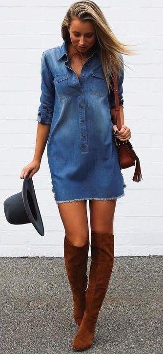 Las 25+ mejores ideas sobre Vestidos camiseros de mezclilla en Pinterest | Vestido de batista ...