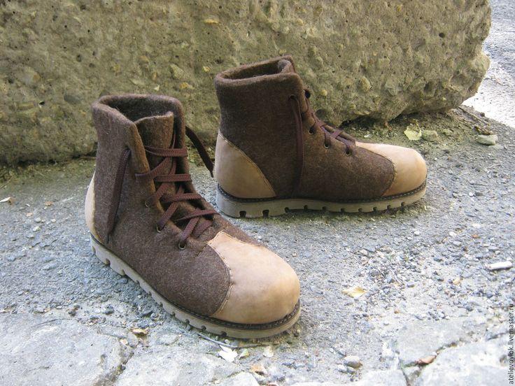 Купить Мужские коричневые ботинки. - коричневый, ботинки, ботинки валяные, ботинки мужские, Ботинки из войлока