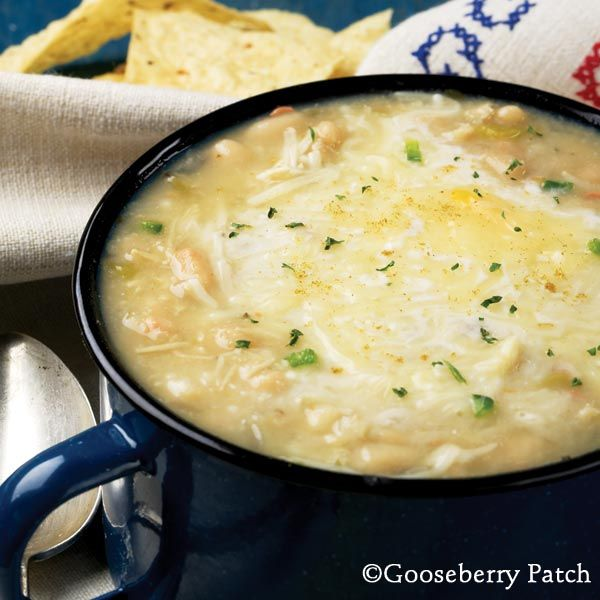 White chicken chili (original: 1 c. Great northern beans, 1 lb. chicken, 1 clove garlic, 1 chopped onion, 2 t. Oregano, 1/2t. Salt, 2 cans cream of chicken, 5 c. Chicken broth, 1 t. Cumin, 4.5 oz can diced green chiles, 2 t. Hot sauce)Sour Cream, Gooseberry Patch, Dice Green, White Chicken Chili, Clove Garlic, Northern Beans, Chicken Chilis, Chops Onions, Hot Sauces