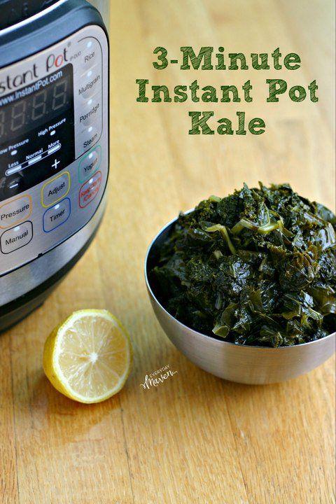 3-Minute Instant Pot Kale - kale/collards/char, olive oil, salt, crushed red pepper flakes, water, lemon juice