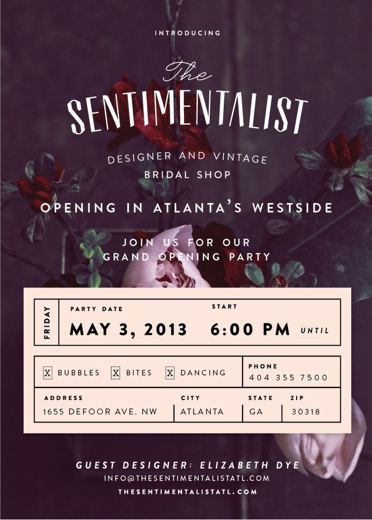 They aren't just for social events - this grand opening invitation would make a beautiful collage - design by alvin diec