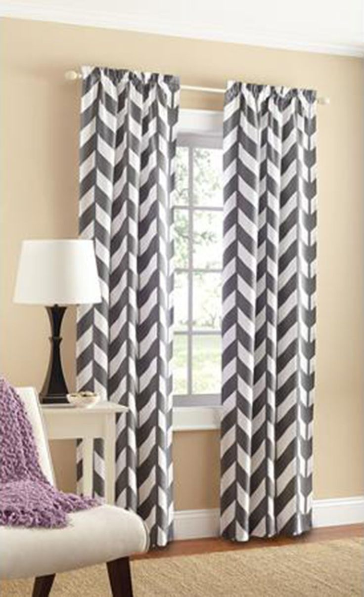 Black and white chevron curtain - Mainstays Chevron Polyester Cotton Curtain Panels Set Of 2 Another Curtain Idea Line As Well