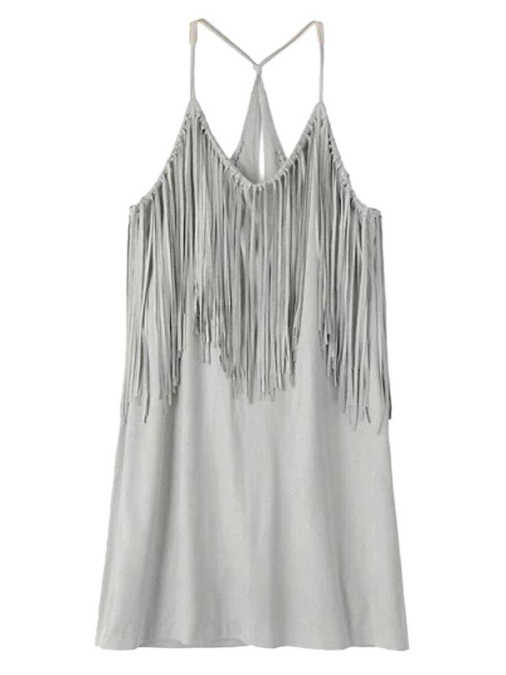 Gray Fringe Dress