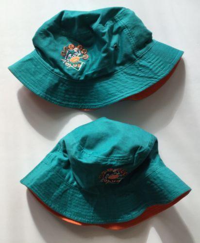 Miami-Dolphins-Bucket-Hats-Reversible-Dolfan-Club-100-Cotton-Aqua-Orange-NFL-x2