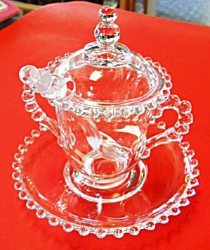 Candlewick Marmalade Jar w/ Lid ,Spoon, Underplate
