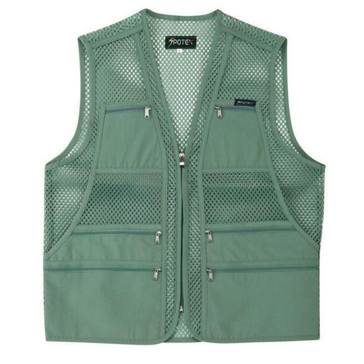 Mens Multi Pockets Fly Fishing Hunting Mesh Vest Travel Outdoor Jacket Top