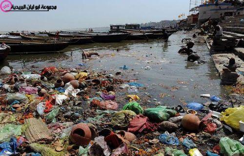 نتيجة بحث الصور عن ظاهرة التلوث البيئي Water Pollution Ganges Pollution