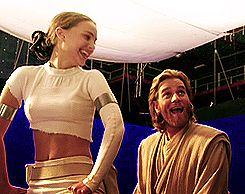 Natalie Portman & Ewan McGregor on the set of Epiode II. I SHIP IT.