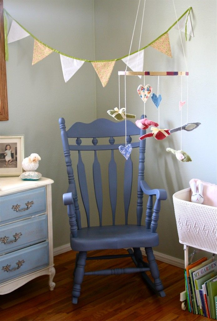 Embroidery Hoop Mobile and Chalk-Paint Rocking Chair