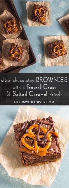 Ultra-Chocolatey Brownies With A Pretzel Crust And Salted Caramel Drizzle