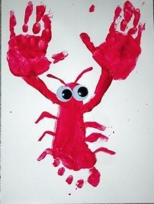 Begeleide of zelfstandige activiteit - krab gemaakt van een voetafdruk en 2 handafdrukken