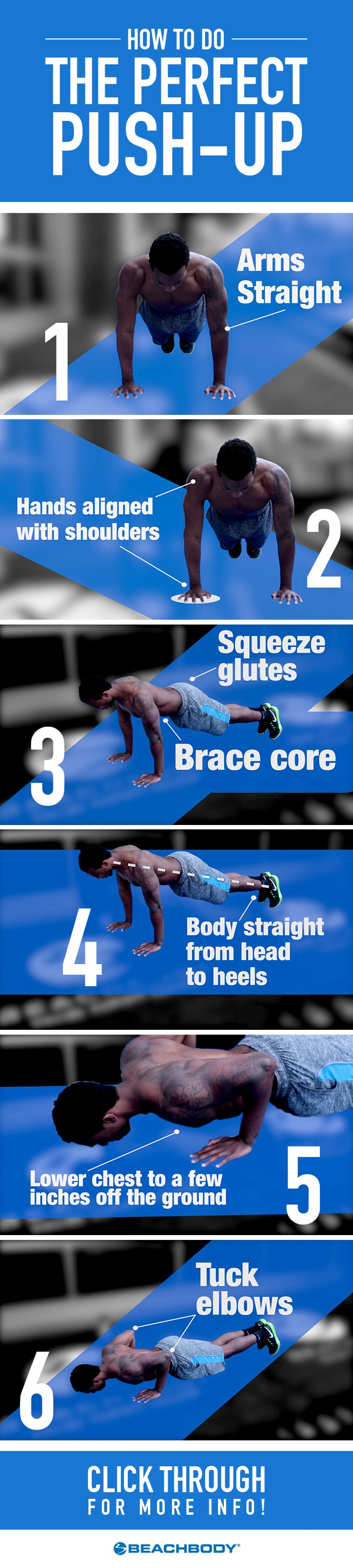 Few exercises command more muscle-building respect than the push-up, which is why everyone from soldiers to yogis perform it regularly. Here's how to perform it correctly to maximize effectiveness. // fitness // tips // arm workouts // how to do a push-up // Beachbody // BeachbodyBlog.com