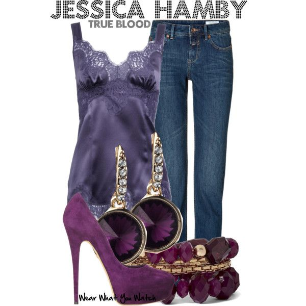 """True Blood"" inspired (Jessica Hamby) outfit, I love the multiple purple colours cute but sultry summer outfit."