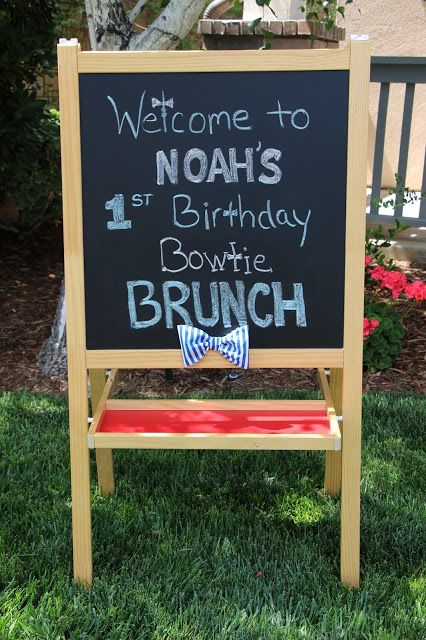Birthday Brunch, Bow Tie, First Birthday, I'm One, Decorations, Chalk Welcome Sign